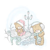 Cute bear in a cap and a scarf. Winter holidays. Christmas and New Yea. Cute bear in a cap and a scarf. Vector illustration for a card or poster. Print on Stock Photo