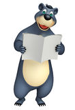 Cute Bear cartoon character with book stack Royalty Free Stock Image