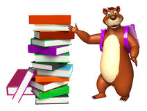 Cute Bear cartoon character with book stack and school bag Stock Image