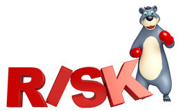 Cute Bear cartoon character with boxing glubs and risk sign. 3d rendered illustration of Bear cartoon character with boxing glubs and risk sign Royalty Free Stock Photo