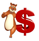Cute Bear cartoon character with doller sign Royalty Free Stock Photo