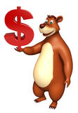 Cute Bear cartoon character with doller sign Royalty Free Stock Photography