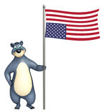 Cute Bear cartoon character with flag. 3d rendered illustration of Bear cartoon character with flag Stock Photos