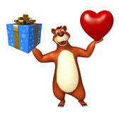 Cute Bear cartoon character with gift box and heart. 3d rendered illustration of Bear cartoon character with gift box and heart Stock Image