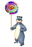 Cute Bear cartoon character with lollipop Royalty Free Stock Photo