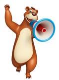 Cute Bear cartoon character with loudspeaker Stock Images