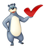 Cute Bear cartoon character with right sign Stock Images