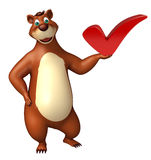 Cute Bear cartoon character with right sign Royalty Free Stock Photos