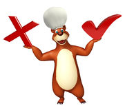 Cute Bear cartoon character with right sign and wrong sign Stock Image