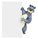 Cute Bear cartoon character with white board Stock Photography