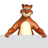 Cute Bear cartoon character with white board Stock Photos