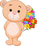 Cute bear cartoon holding flower bucket Royalty Free Stock Image