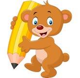 Cute bear cartoon holding pencil Stock Photography