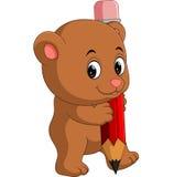 Cute bear cartoon holding pencil Royalty Free Stock Photos