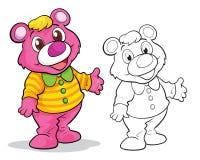 Cute bear cartoon mascot. Vector of cute bear mascot cartoon color and coloring outline stock illustration