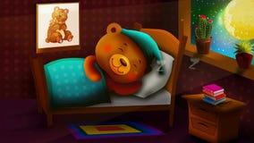 Cute bear cartoon sleeping in beautiful night, best loop video background