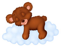 Cute bear cartoon sleeping on the cloud Royalty Free Stock Images