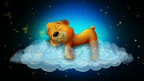 Cute bear cartoon sleeping on clouds, best loop video background for lullabies to put a baby go to sleep and calming , relaxing