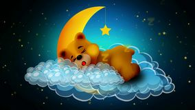 Cute bear cartoon sleeping on moon, best loop video background for lullabies to put a baby go to sleep and calming , relaxing
