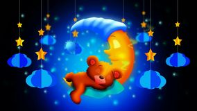 Cute bear cartoon sleeping on moon, best loop video screen background