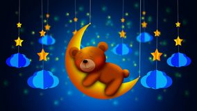 Cute bear cartoon sleeping on moon, best loop video screen background for lullaby to put a baby to sleep, calming relaxing