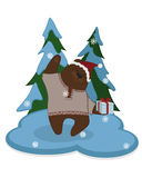 Cute bear cartoon. winter Stock Image