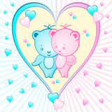 Cute bear cartoons in a heart Royalty Free Stock Photos