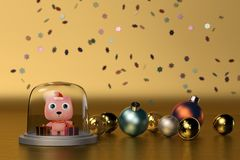 Cute Bear with Christmas balls gold background.3D illustration. Cute Bear with Christmas balls gold background. 3D illustration Royalty Free Stock Image