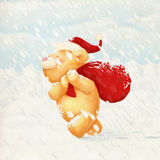 Cute Bear Christmas Card Stock Image