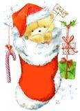 Cute Bear. Christmas Card with cute teddy bear. Watercolor Teddy Bear illustration. Background for New Year invitation card. Royalty Free Stock Photography