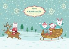 Cute Bear with Christmas Sleigh,Christmas Card,Vector illustrations Stock Images