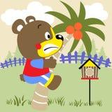Cute bear. Climb a coconut tree in the yard, vector cartoon illustration Stock Photography