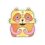 Cute bear colorful cloth patch, applique for decoration kids clothing cartoon vector Illustration Stock Photos
