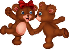Cute bear couple cartoon dancing Stock Photo