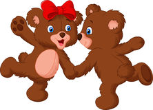 Cute bear couple dancing Royalty Free Stock Photos