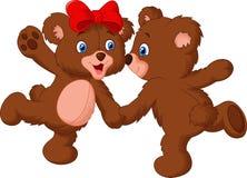 Cute bear couple dancing Royalty Free Stock Photos
