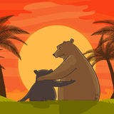 Cute bear with cub for Father's Day celebration. Stock Photos