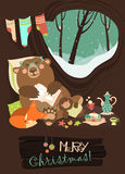 Cute bear with cub and little fox sleeping in his. Cute cartoon bear with cub and little fox sleeping in the winter in his den. Vector greeting card Royalty Free Stock Photos