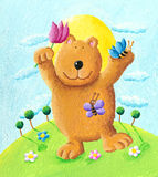 Cute bear dancing in the park. Acrylic illustration of cute bear dancing in the park Royalty Free Stock Images