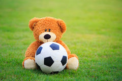 Cute bear doll with football  on field of grass Royalty Free Stock Photos