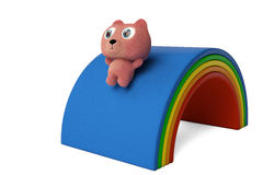 A cute bear down on rainbow slide 3D rendering. Pink cute bear on  down the rainbow slide, 3D rendering Royalty Free Stock Photography