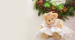 Cute bear in dress. For Christmas cards greetings, New Year illustrations Stock Photo
