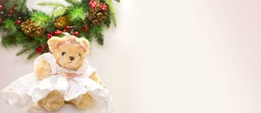 Cute bear in dress. For Christmas cards greetings, New Year illustrations Stock Photography