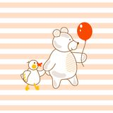 Cute bear and duck friends pink vector illustration for apparel striped print. Royalty Free Stock Image