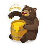 Cute bear eats honey from wooden barrel. Cartoon vector illustration. Cute bear eats honey from wooden barrel. Cartoon vector royalty free illustration