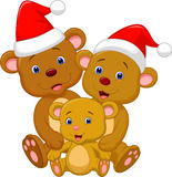 Cute bear family cartoon wearing red hat Stock Images