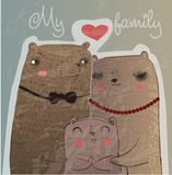 Cute bear family Stock Photos