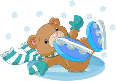 Cute bear fell to the ice rink Royalty Free Stock Photos