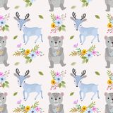 Cute bear and deer seamless pattern. Cute bear with fish and deer in flowers garden seamless pattern stock illustration
