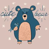 Cute bear with fish illustration. Idea for print t-shirt. stock illustration